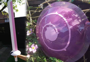 Rose Quartz sword and shield WIP  by Arualsti