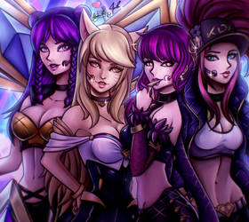 K/DA Kai'sa, Ahri, Evelynn and Akali by Hinata1495