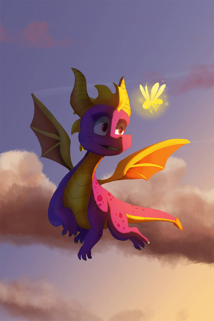 spyro in the sky by pink-ninja