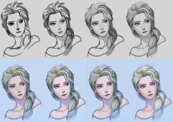 Elsa step by step by gooloo0-o