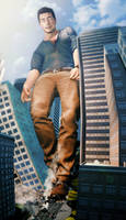 Giant Nathan Drake - Catastrophic Growth Spurt by gt-and-videogames