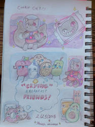 Cookie cat and Crying breakfast friends by TripleTartArt3