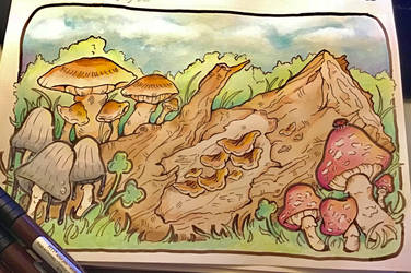 Mushrooms Day 1# by TripleTartArt3