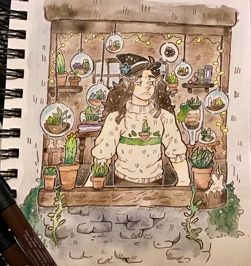 Grumpy Cactus Witch. Day 4# by TripleTartArt3