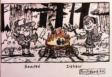 Inktober2018- Day3-Roasted-Gravity Falls Scampfire by PenciltipWorkshop
