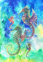 Seahorse Family by dawndelver