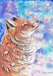 Fox with falling Blossom by dawndelver