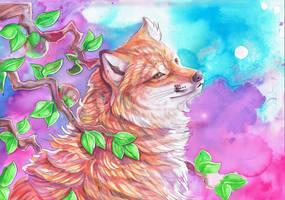 Fox by Apple Tree by dawndelver