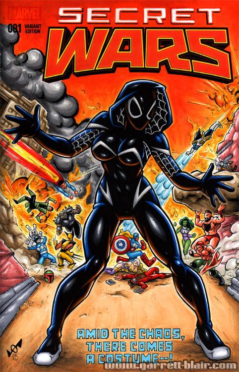 Symbiote Spider-Gwen Secret Wars sketch cover by gb2k