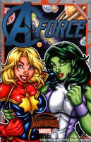 Captain Marvel + She Hulk sketch cover by gb2k