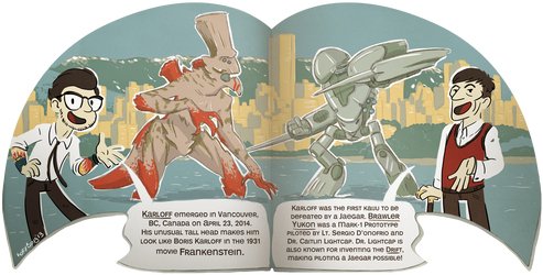 Dr. Newt's Big Book of Kaiju Spread by korybing