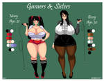 Sisters and gamers! Reference sheet! (Commission) by BAVARELL