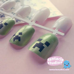 Creeper Nail Decals diy by demon-squid
