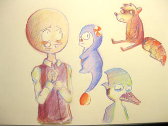 Regular show color pencil drawings by snackguardians