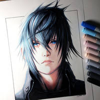 Noctis Drawing - Final Fantasy XV Fan Art by LethalChris