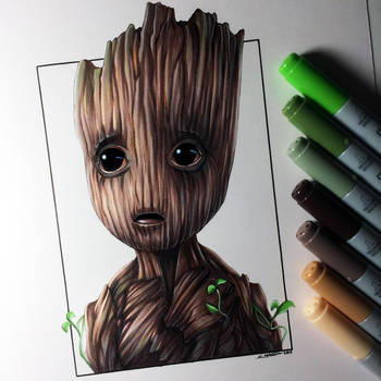 Baby Groot Drawing By Lethalchris On Deviantart