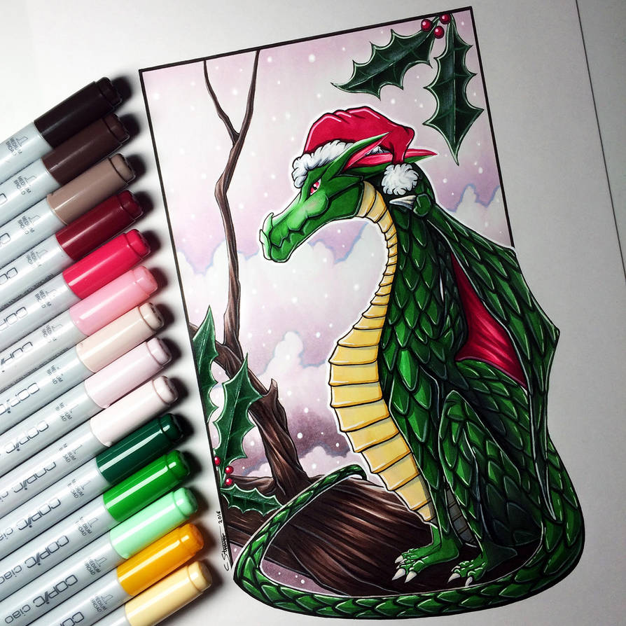 Christmas Dragon Drawing by LethalChris
