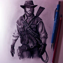 John Marston Drawing - Red Dead Redemption by LethalChris