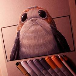 Porg Drawing - Star Wars: The Last Jedi Fan Art by LethalChris