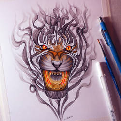 Smoke Tiger Drawing by LethalChris
