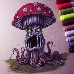 Evil Mushroom Drawing by LethalChris