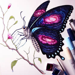 Galaxy Butterfly Drawing by LethalChris