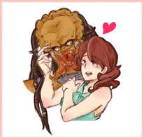 predator and humangirl by ujiiekein
