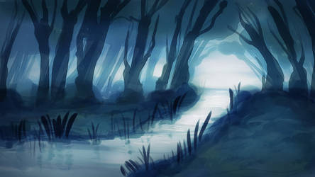 Forest at Night by ViridianMoon