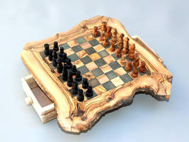 Engraved Olive Wood Rustic Chess Set - Small Size by TunisiaBazaar