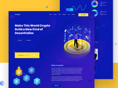 Icoland landing page | Cryptocurrency Explore by Jenat-ara