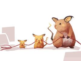 Pikachu - Raichu (+ Pichu) by MrRedButcher
