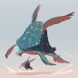 Winged Turtles by MrRedButcher