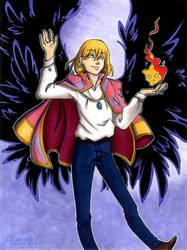 Howl and Calcifer by azyzl