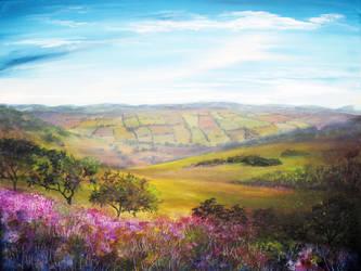 Painting: Fields of Derbyshire by AnnMarieBone