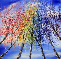 Rainbow Birches by AnnMarieBone