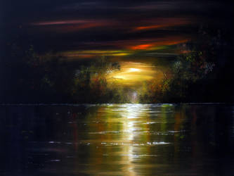 OIL PAINTING: Moonlight Shadows by AnnMarieBone