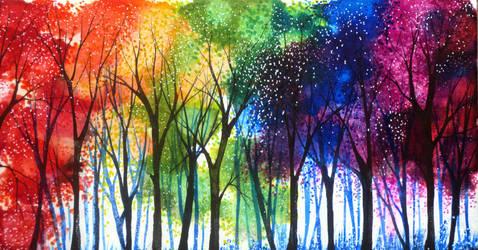 Rainbow Trees by AnnMarieBone