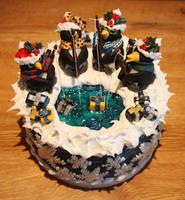 Present Fishing Penguin Christmas Cake by KatesKakes