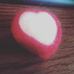 Felted Frosted Heart shaped Cookie by LimeBerri