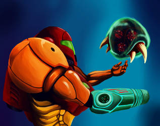 Samus and the last Metroid by GrassInTheSnake