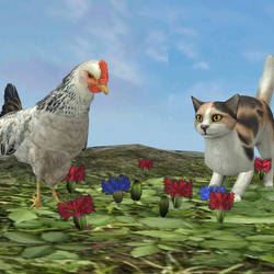 Chicken and Cat by Violachanbro