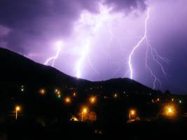 lightning storm over sacele by Carnacior
