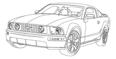 06 Mustang Line Art by Excalibur14