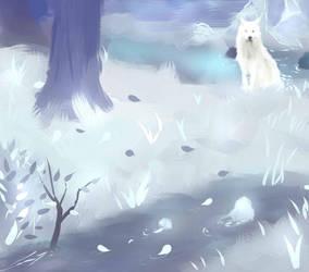 Winter landscape with wolf by Tylia-diamond