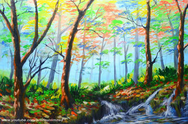 BASIC FOREST AND WATER FALLS by beejay-artlife12