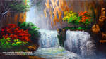 Water Falls and Autumn Trees by beejay-artlife12