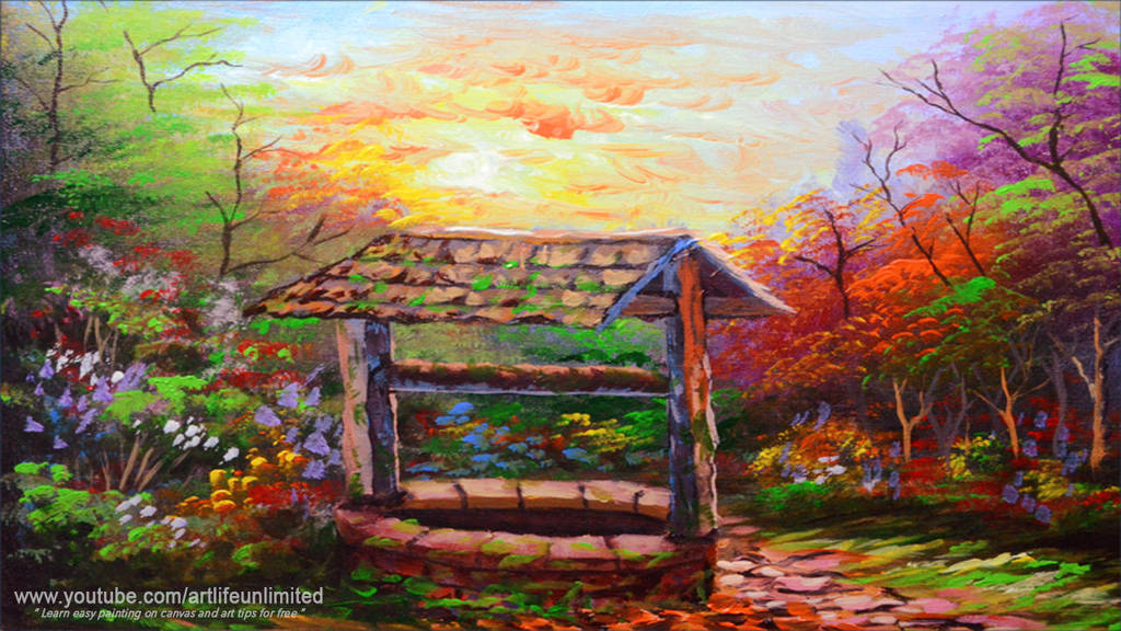 Classic Well and Autumn Trees by beejay-artlife12