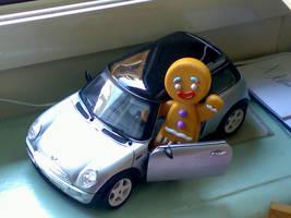 Gingerbread Man in Mini Cooper by london-dream