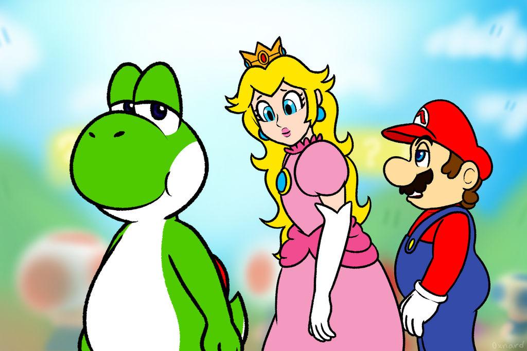 Yoshi Peach Mario Totally Not A Meme by nishi