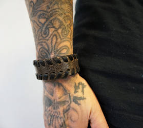 Brown handlaced cuff by MARIEKECREATION